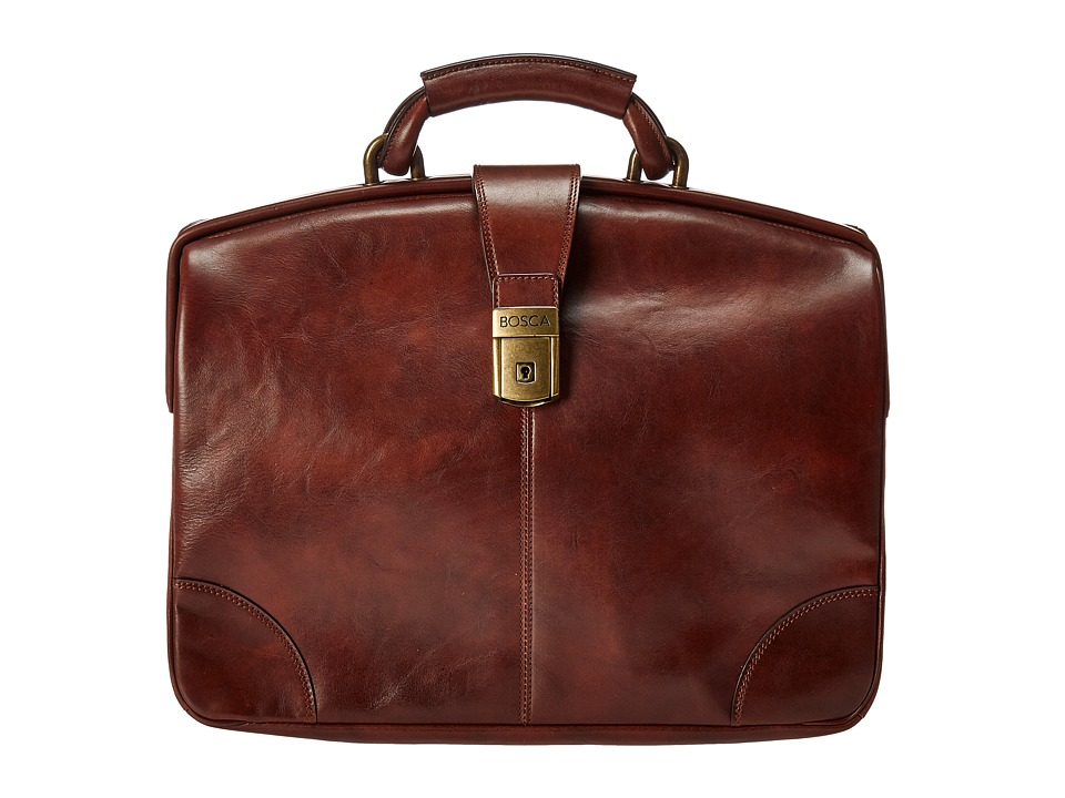 Bosca Dolce Collection Soft Partners Brief (Dark Brown) Briefcase Bags