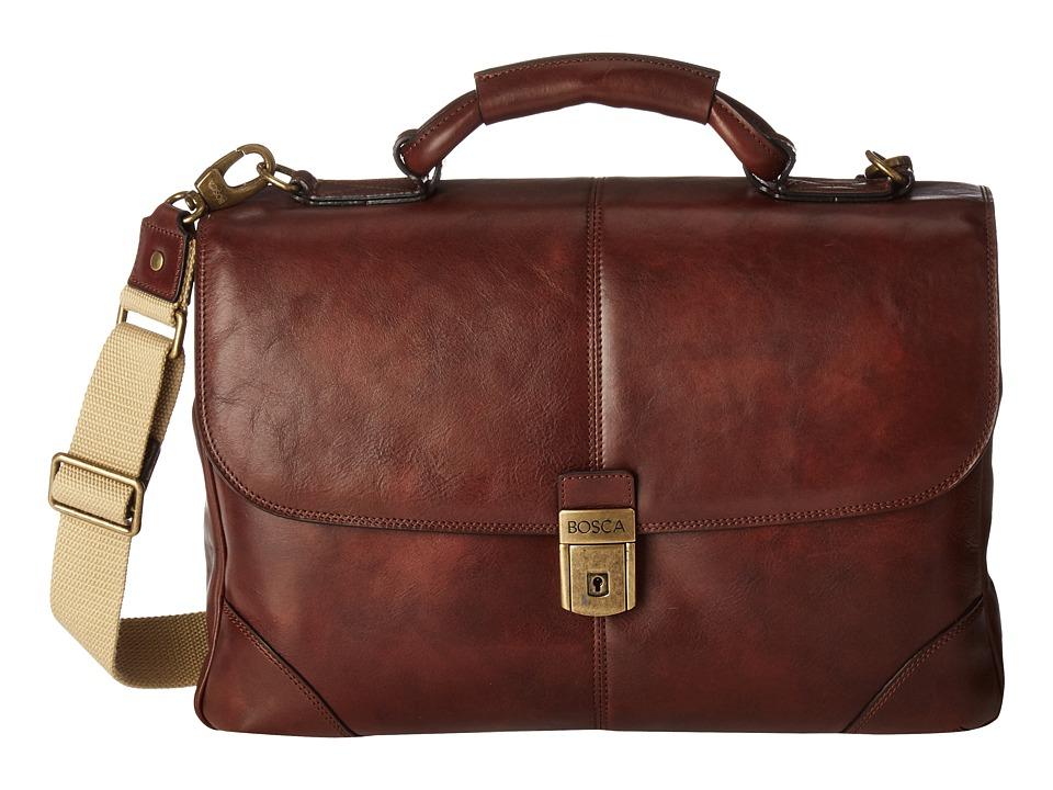 Bosca Dolce Collection Flapover Brief (Dark Brown) Briefcase Bags