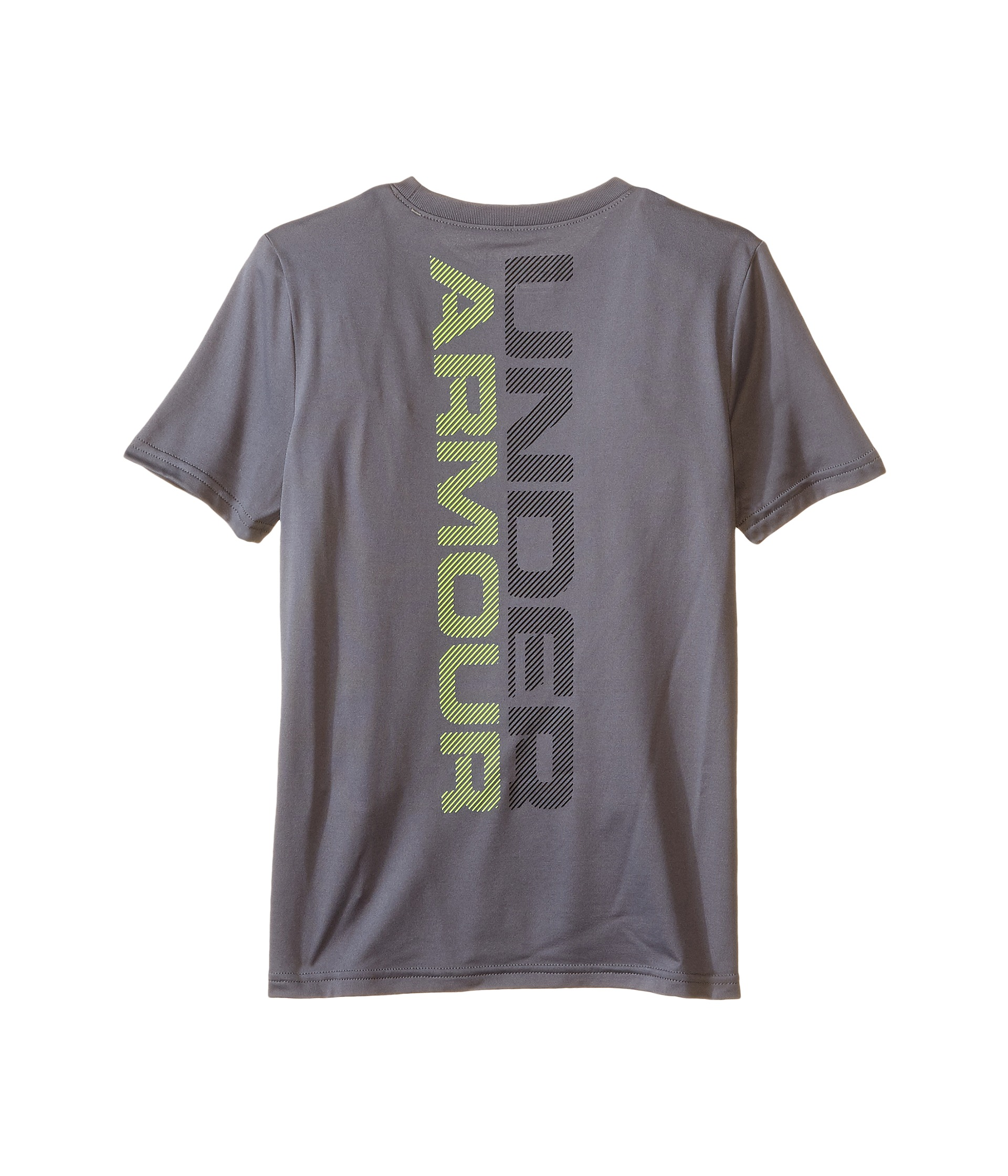 Under armour kids striped logo short sleeve t shirt big for Under armour shirts for kids