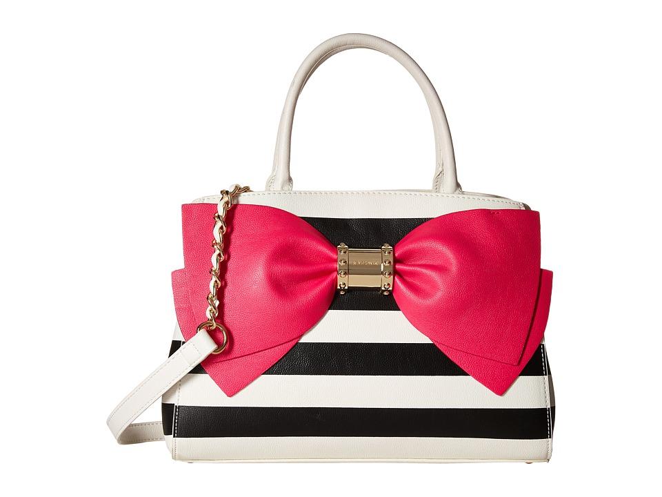 Betsey Johnson Ready Set Bow Satchel Stripe Satchel Handbags