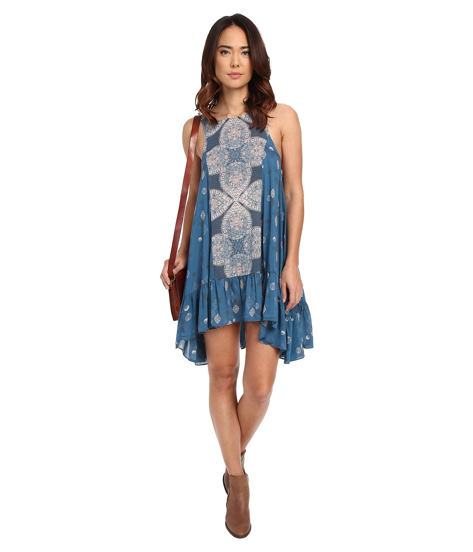 Free People Into You Sprinted Slip Teal Combo Womens Dress