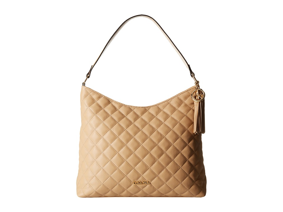 Calvin Klein - Quilted Pebble Hobo (Nude) Hobo Handbags