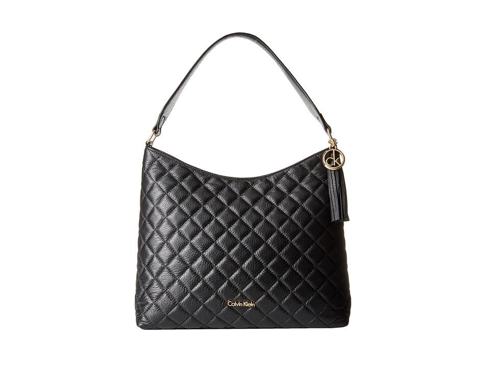Calvin Klein - Quilted Pebble Hobo (Black/Gold) Hobo Handbags