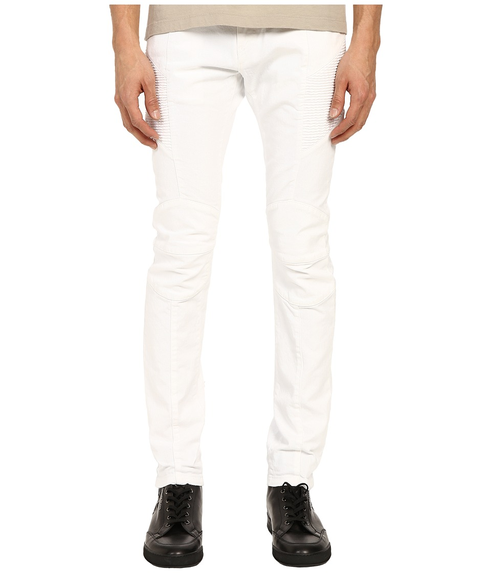 Pierre Balmain Biker Jeans Optic White Mens Jeans