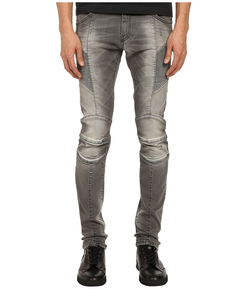 Pierre Balmain Faded Biker Jeans Dark Grey Mens Jeans