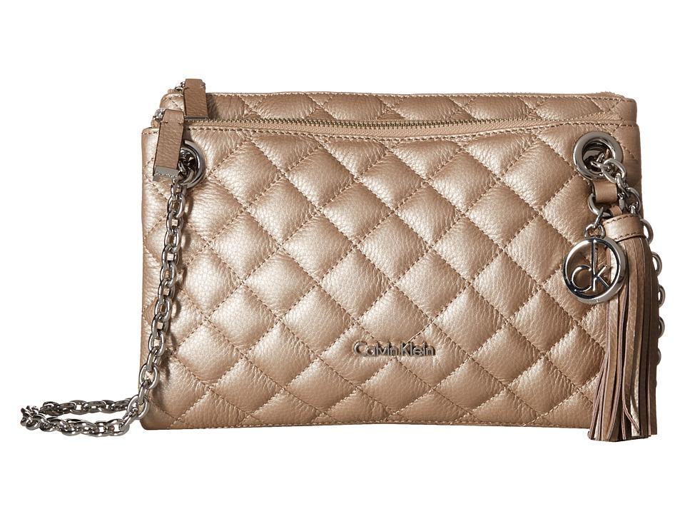 Calvin Klein - Quilted Pebble Crossbody (Metallic Taupe) Cross Body Handbags