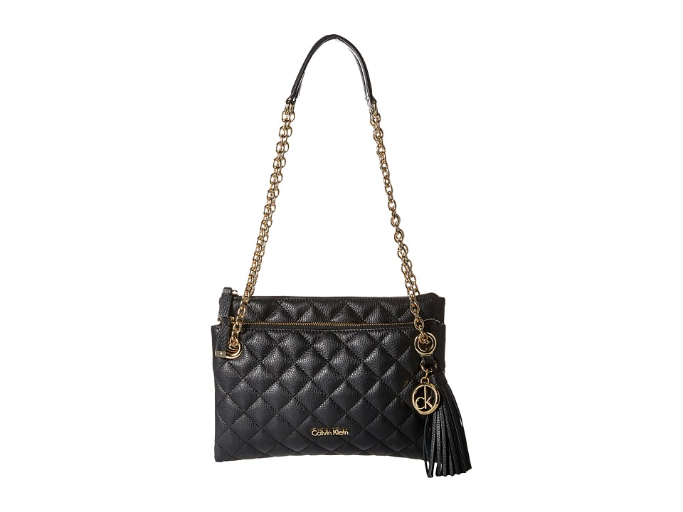 Calvin Klein - Quilted Pebble Crossbody (Black/Gold) Cross Body Handbags
