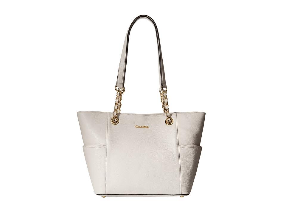 Calvin Klein - Key Item Leather Tote (White 1) Tote Handbags
