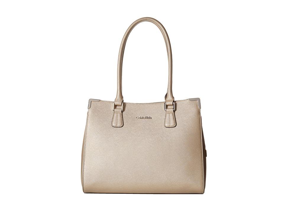 Calvin Klein - On My Corner Saffiano Leather Satchel (Metallic Taupe) Tote Handbags