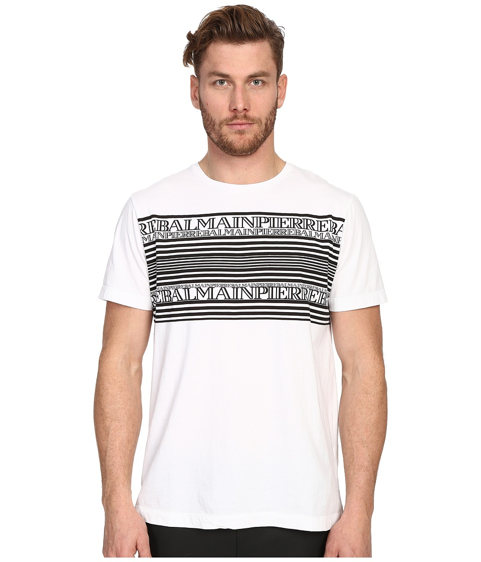 Pierre Balmain Graphic PB T Shirt Optic White Mens Short Sleeve Pullover
