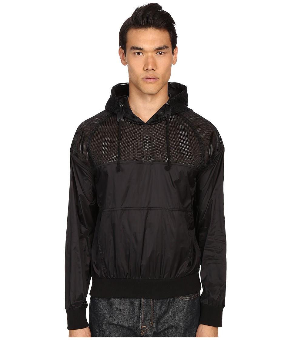 Pierre Balmain Mesh Track Jacket with Hood Black Mens Sweatshirt