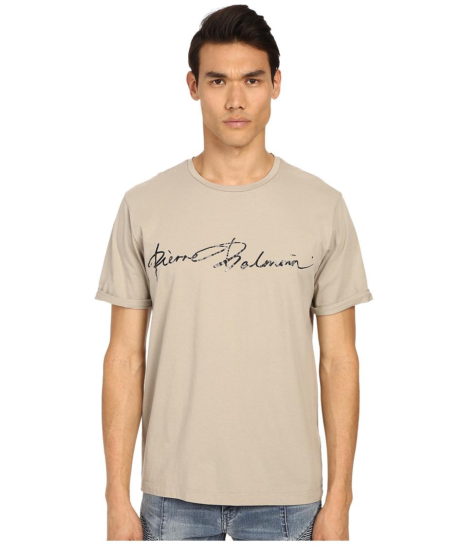 Pierre Balmain PB Signature T Shirt Khaki Mens T Shirt
