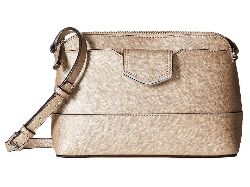 Calvin Klein - Saffiano Crossbody (Metallic Taupe) Cross Body Handbags