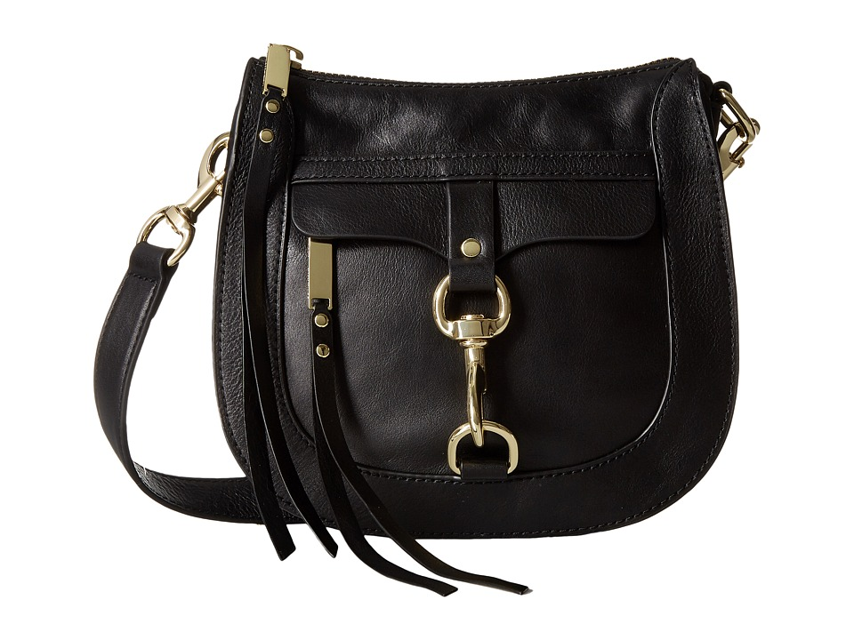 Rebecca Minkoff - Dog Clip Saddle Bag (Black) Handbags