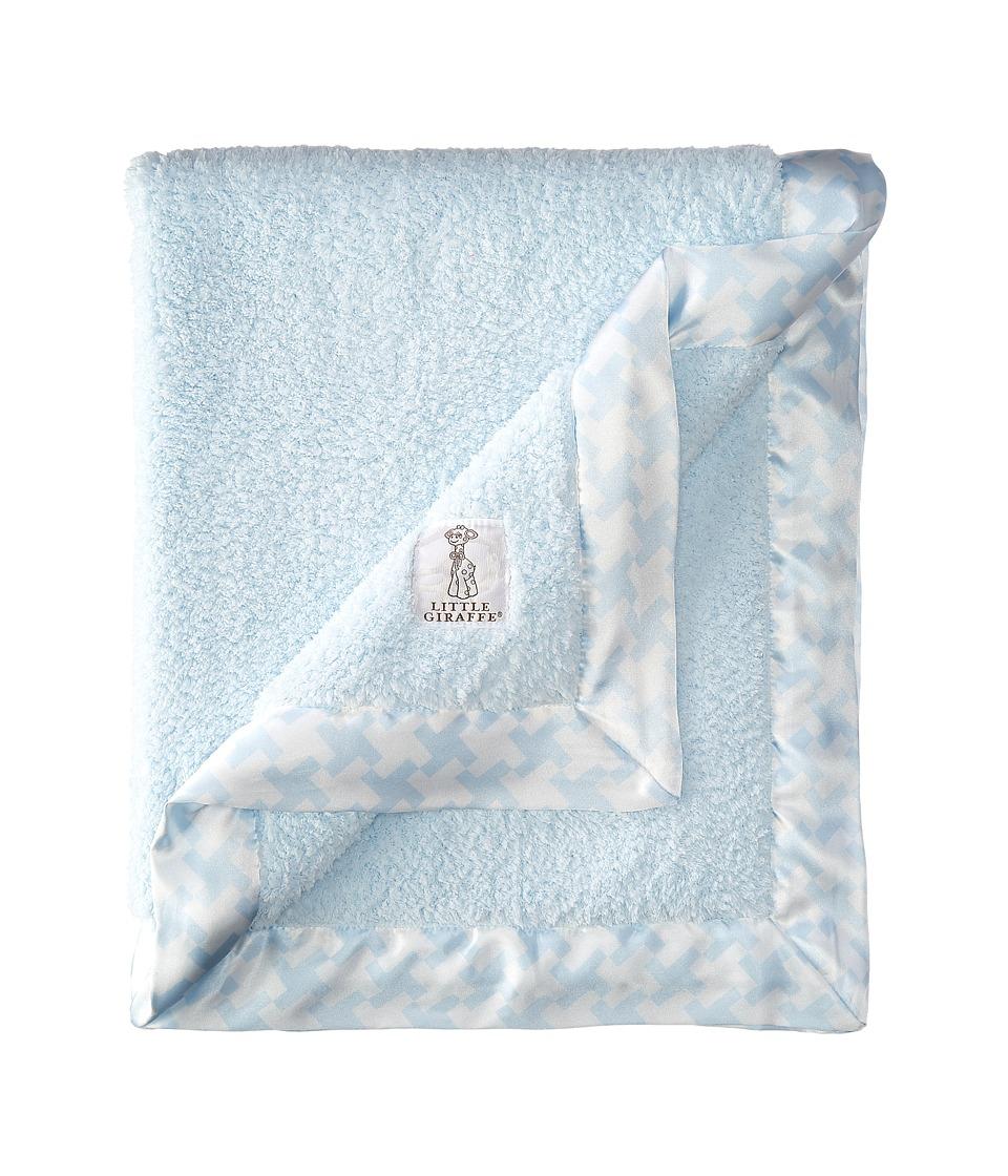 Little Giraffe Chenille Houndstooth Blanket Blue Blankets