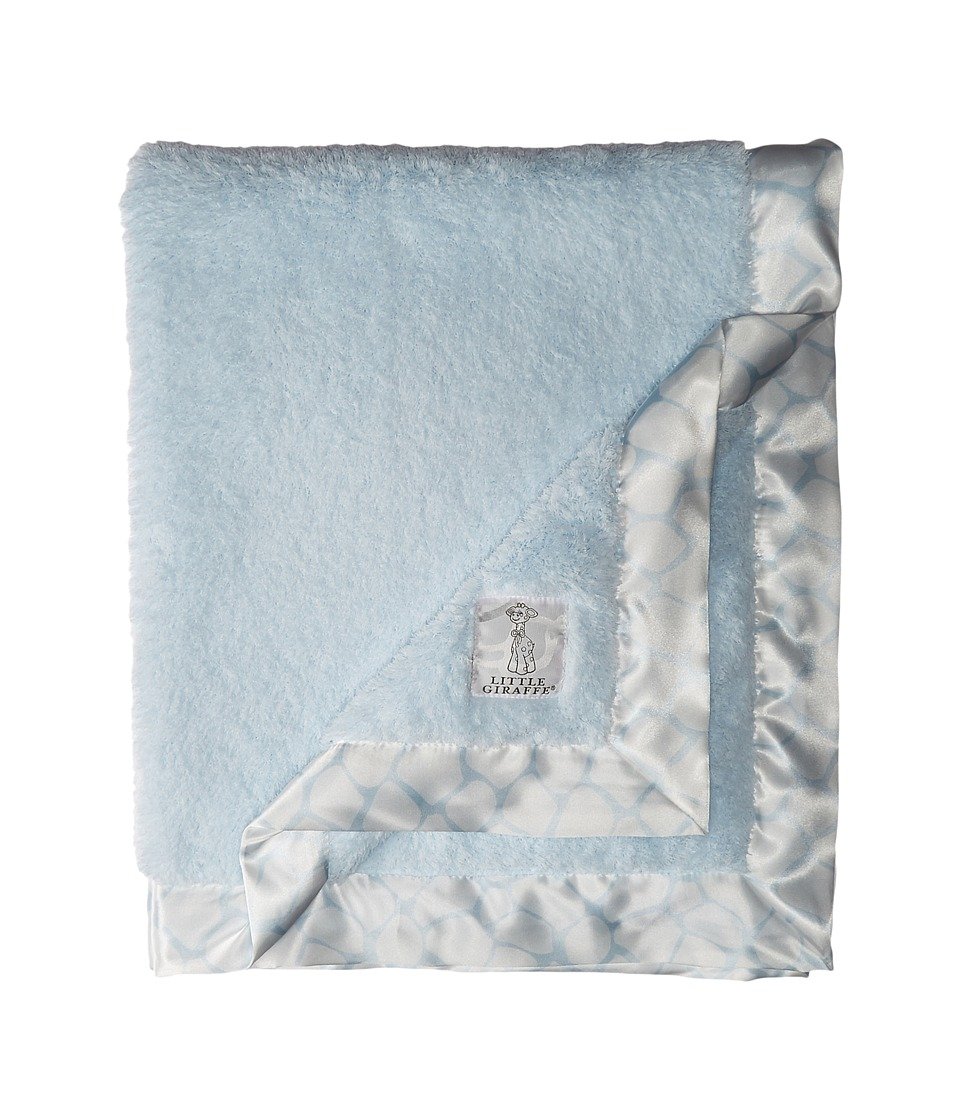 Little Giraffe Chenille Giraffe Blanket Blue Blankets