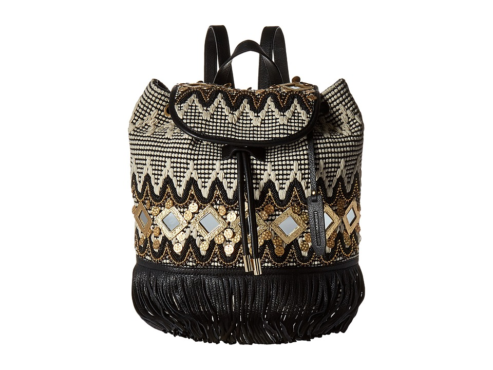 Rebecca Minkoff Taj Backpack with Fringe Black/White Multi Backpack Bags