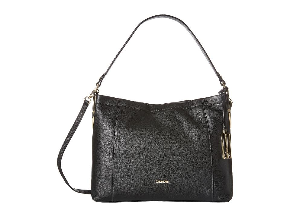 Calvin Klein - Pebble Hobo (Black/Gold) Hobo Handbags