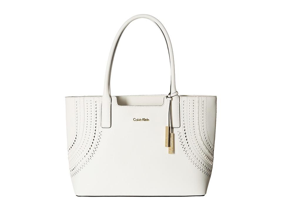 Calvin Klein - Saffiano Tote (White Cut Out) Tote Handbags