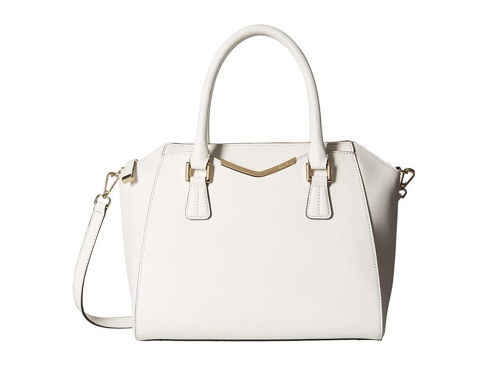 Calvin Klein - Saffiano Satchel (White) Satchel Handbags
