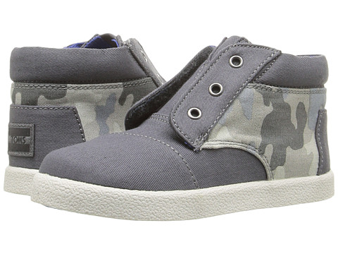 TOMS Kids Paseo High Sneaker (Infant/Toddler/Little Kid) - Grey Cotton Twill/Camo