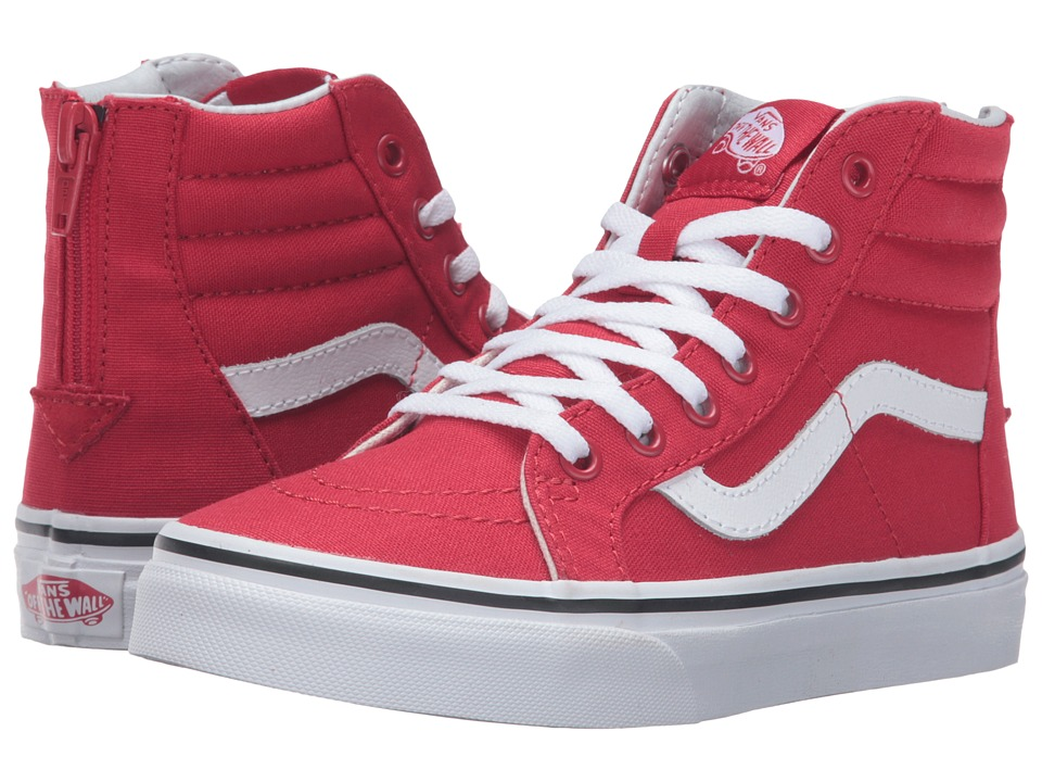 Vans Kids Sk8-Hi Zip (Little Kid/Big Kid) ((Varsity) Racing Red/True White) Boys Shoes