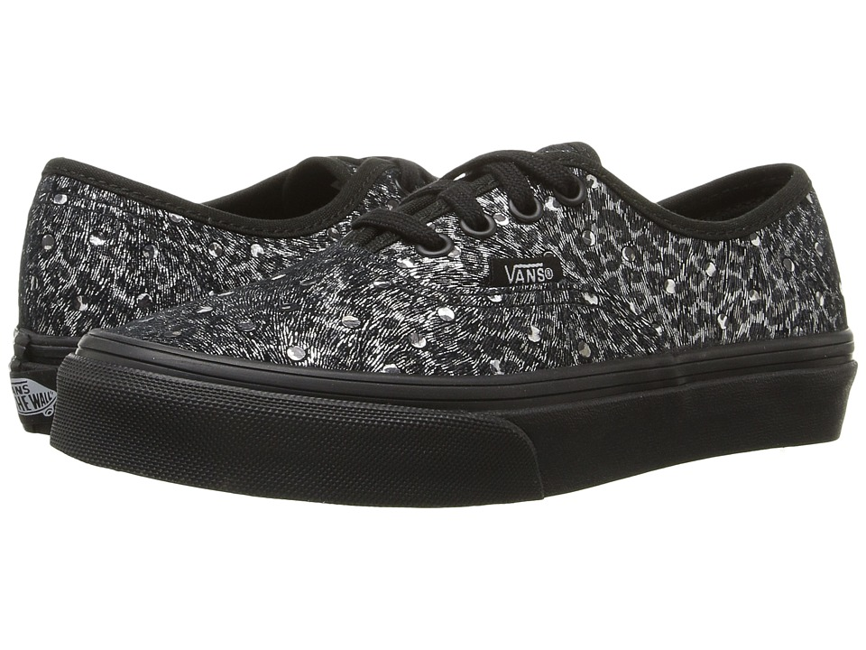 Vans Kids - Authentic (Little Kid/Big Kid) ((Metallic Leopard) Black/Black) Girls Shoes