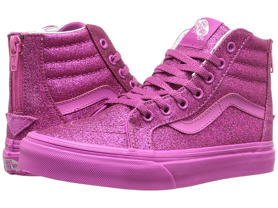 Vans Kids Sk8-Hi Zip (Little Kid/Big Kid) ((Shimmer) Magenta) Girls Shoes