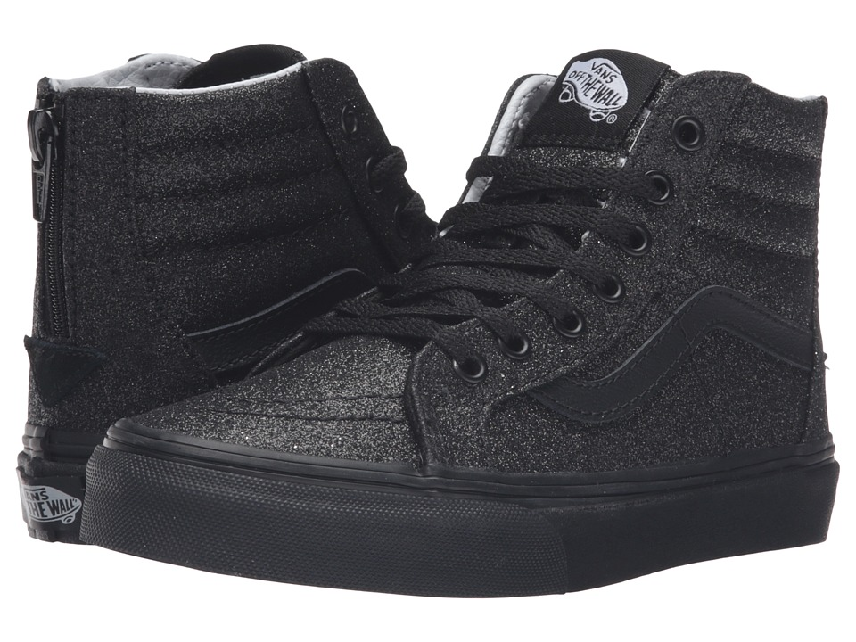 Vans Kids Sk8-Hi Zip (Little Kid/Big Kid) ((Shimmer) Black/Black) Girls Shoes