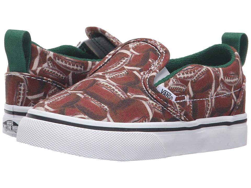 Vans Kids - Slip-On V (Toddler) ((Sports) Football/Green) Boys Shoes