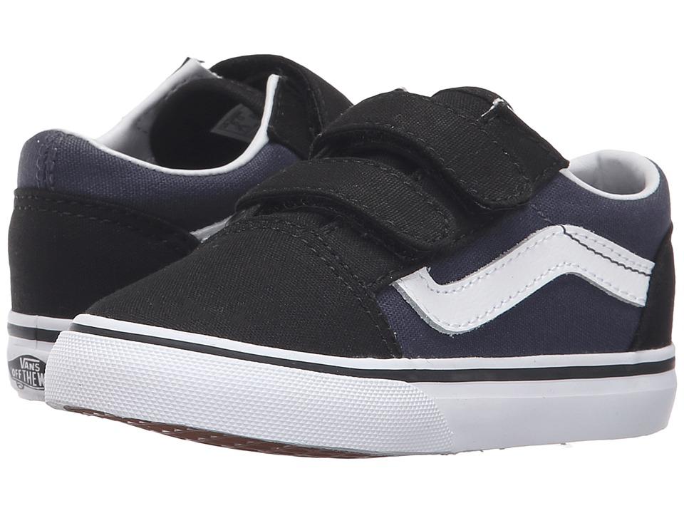 Vans Kids - Old Skool V (Toddler) ((Pop) Black/Parisian Night) Boys Shoes