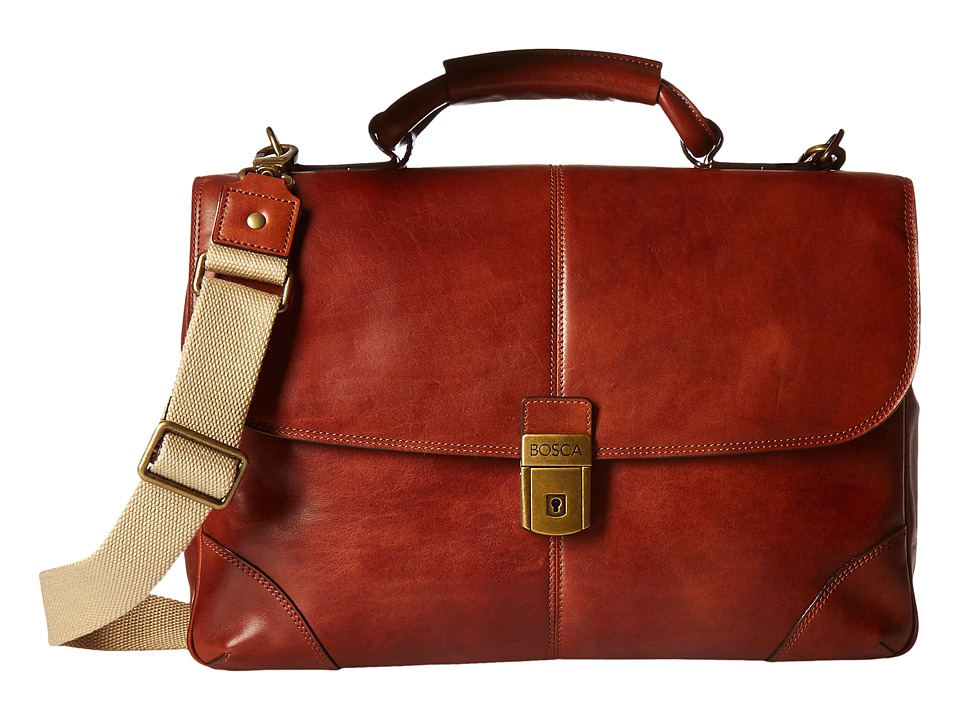 Bosca Dolce Collection Flapover Brief (Amber) Briefcase Bags