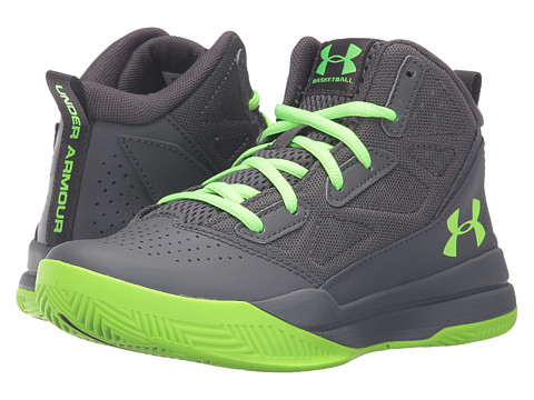 Under Armour Kids UA BGS Jet Mid (Big Kid) - Stealth Gray/Stealth Gray/Hyper Green