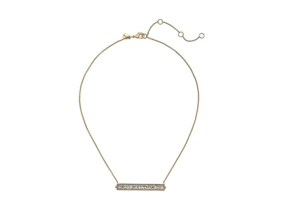Alexis Bittar Baguette Encrusted Channel Pendant Necklace 10K Gold Necklace