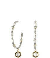 Alexis Bittar - Pave Hoop w/ Enamel Accented Custom Cut Stone Drop and Spike Detail Earrings