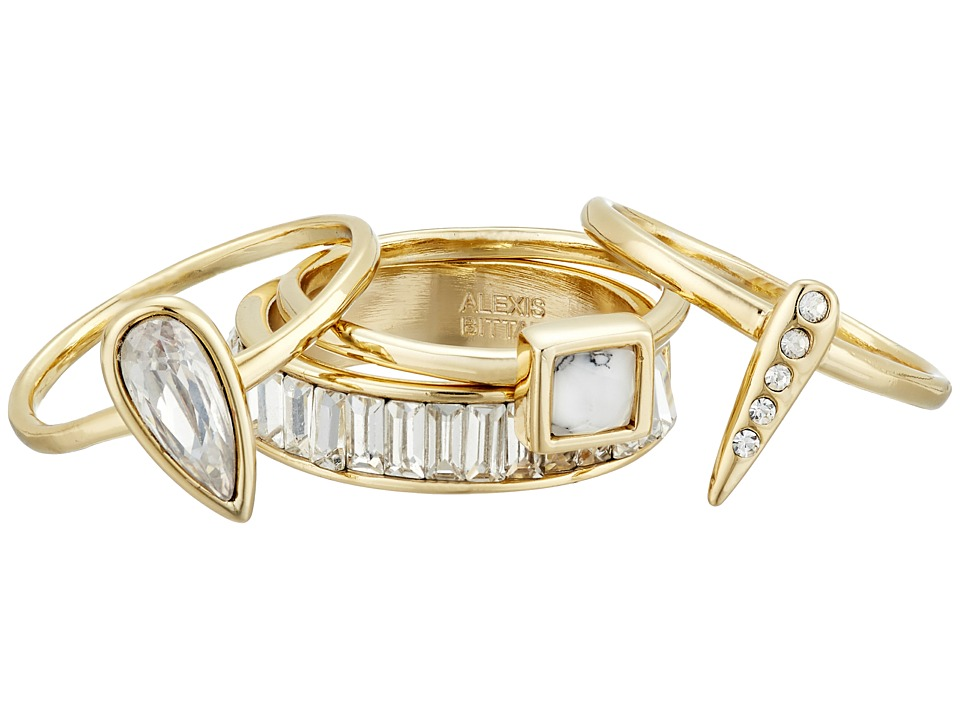Alexis Bittar 4 Piece Stacking Ring Set w/ Cube Pave Spike Petite Tear Drop and Baguette Eternity Band 10K Gold Ring