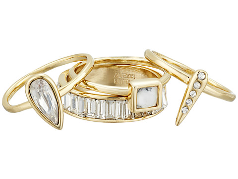 Alexis Bittar 4-Piece Stacking Ring Set w/ Cube, Pave Spike, Petite Tear Drop and Baguette Eternity Band