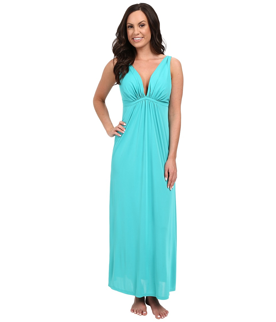 Natori Aphrodite Tank Gown Turquoise Womens Pajama