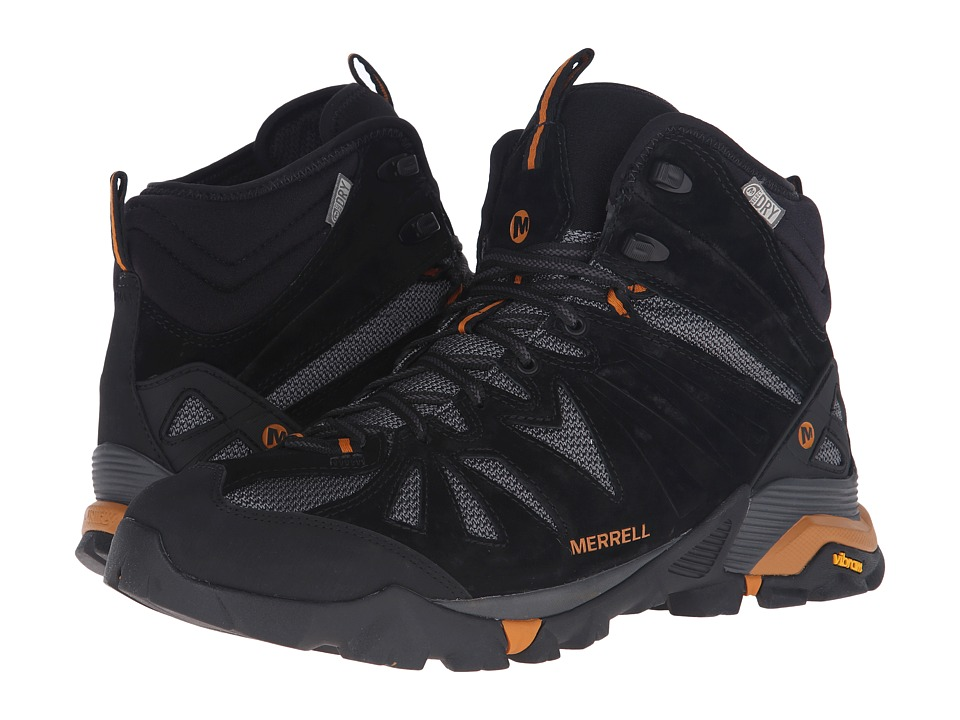 Merrell - Capra Mid Waterproof (Black/Orange) Men