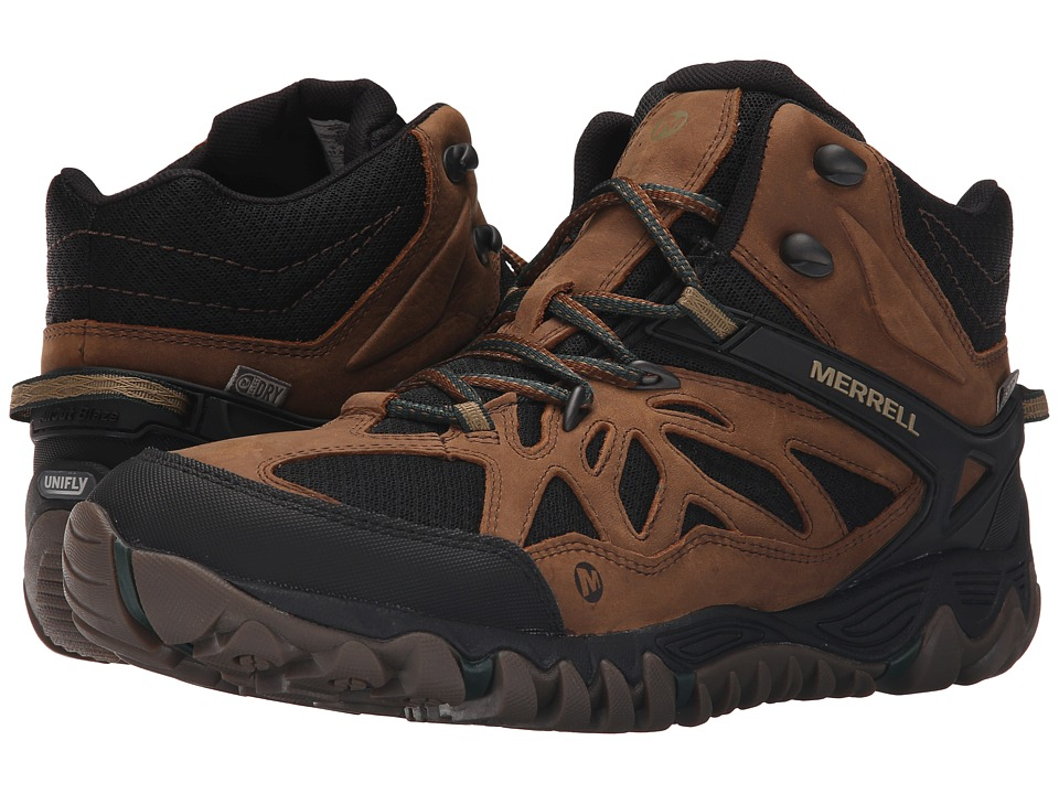 Merrell All Out Blaze Vent Mid Waterproof Merrell Tan Mens Shoes