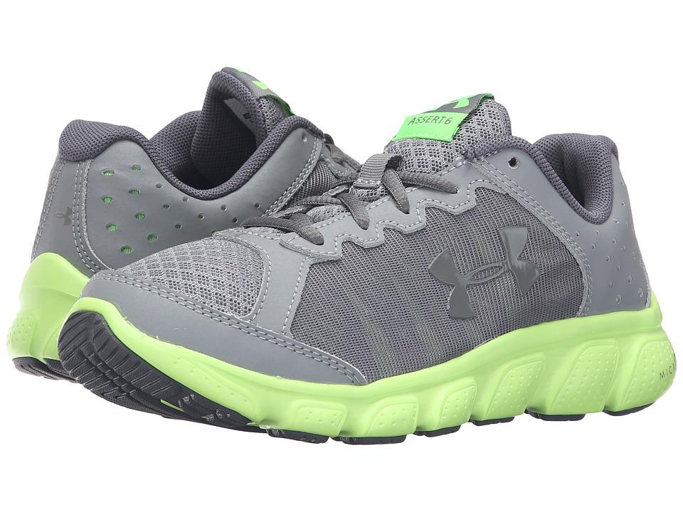 Under Armour Kids UA BGS Micro Gtm Assert 6 (Big Kid) (Steel/Limelight/Stealth Gray) Boys Shoes