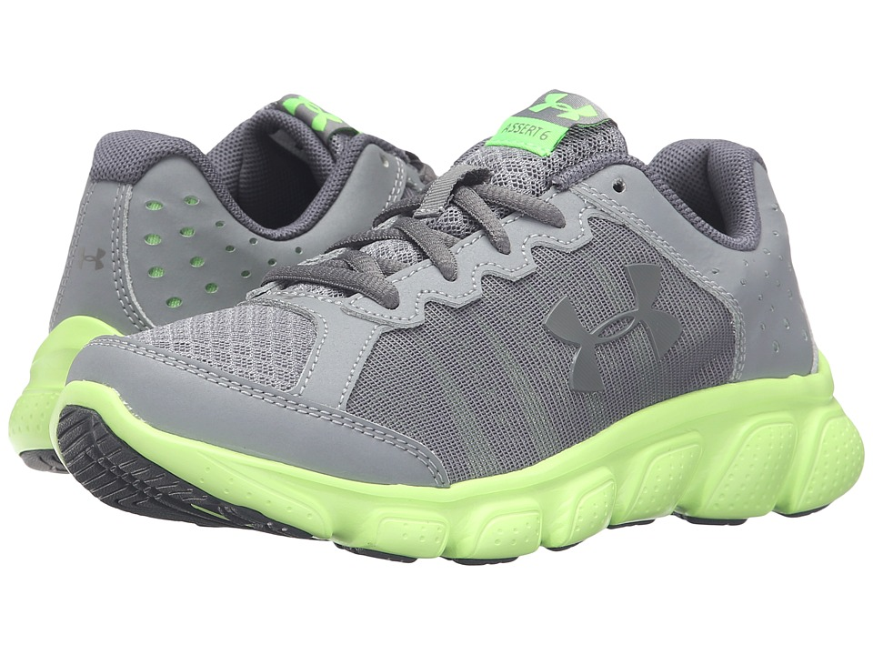 Under Armour Kids UA BPS Assert 6 (Little Kid) (Steel/Limelight/Stealth Gray) Boys Shoes