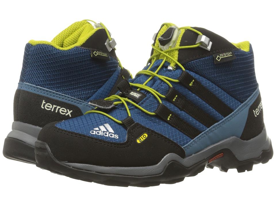 adidas Outdoor Kids - Terrex Mid GTX (Little Kid/Big Kid) (Tech Steel/Black/Unity Lime) Boys Shoes