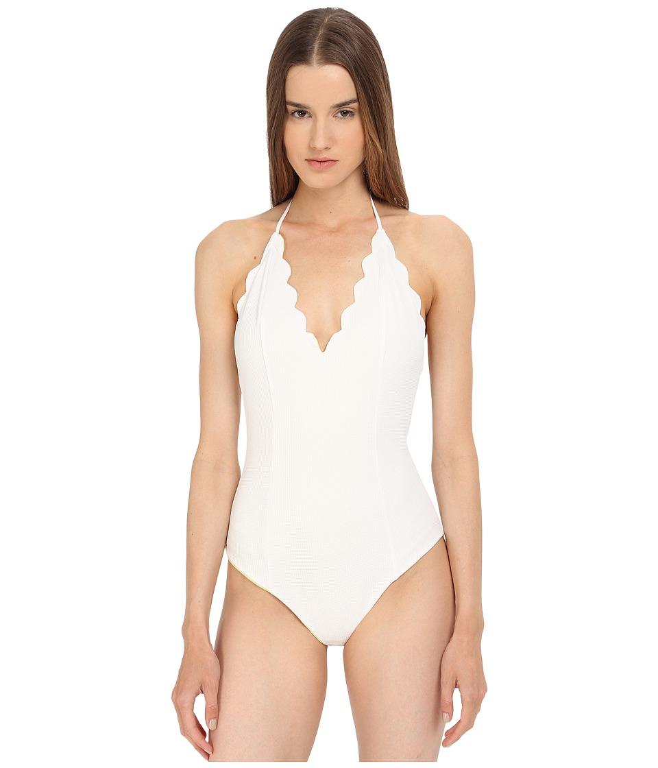 Marysia Broadway Maillot Off White/Sunlight Yellow Womens Swimsuits One Piece
