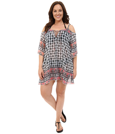 BECCA by Rebecca Virtue - Plus Size Belly Dancer Tunic Cover-Up (Multi) Women's Swimwear