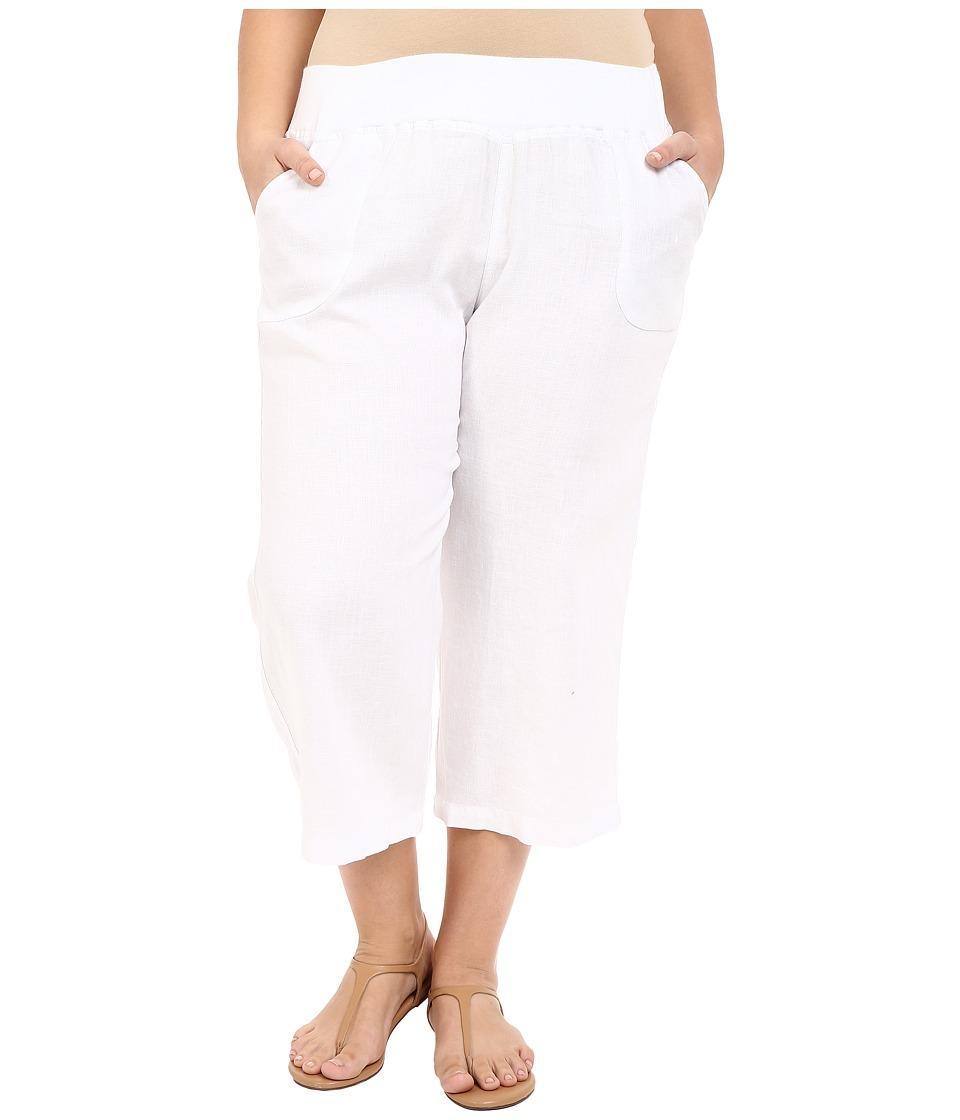 Allen Allen Plus Size Crop Pants w/ Rib Waist White Womens Capri
