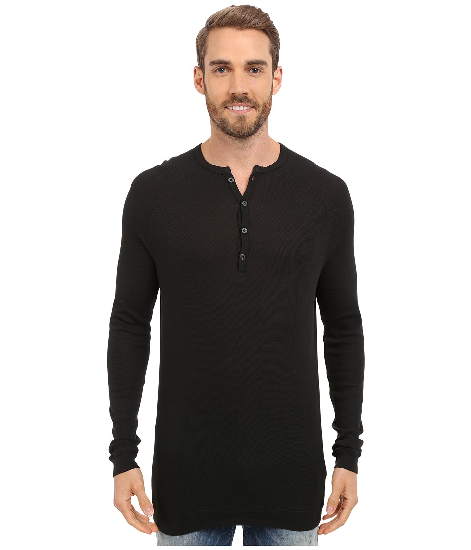 Agave Denim Bishop Supima Henley Long Sleeve Anthracite Mens Clothing