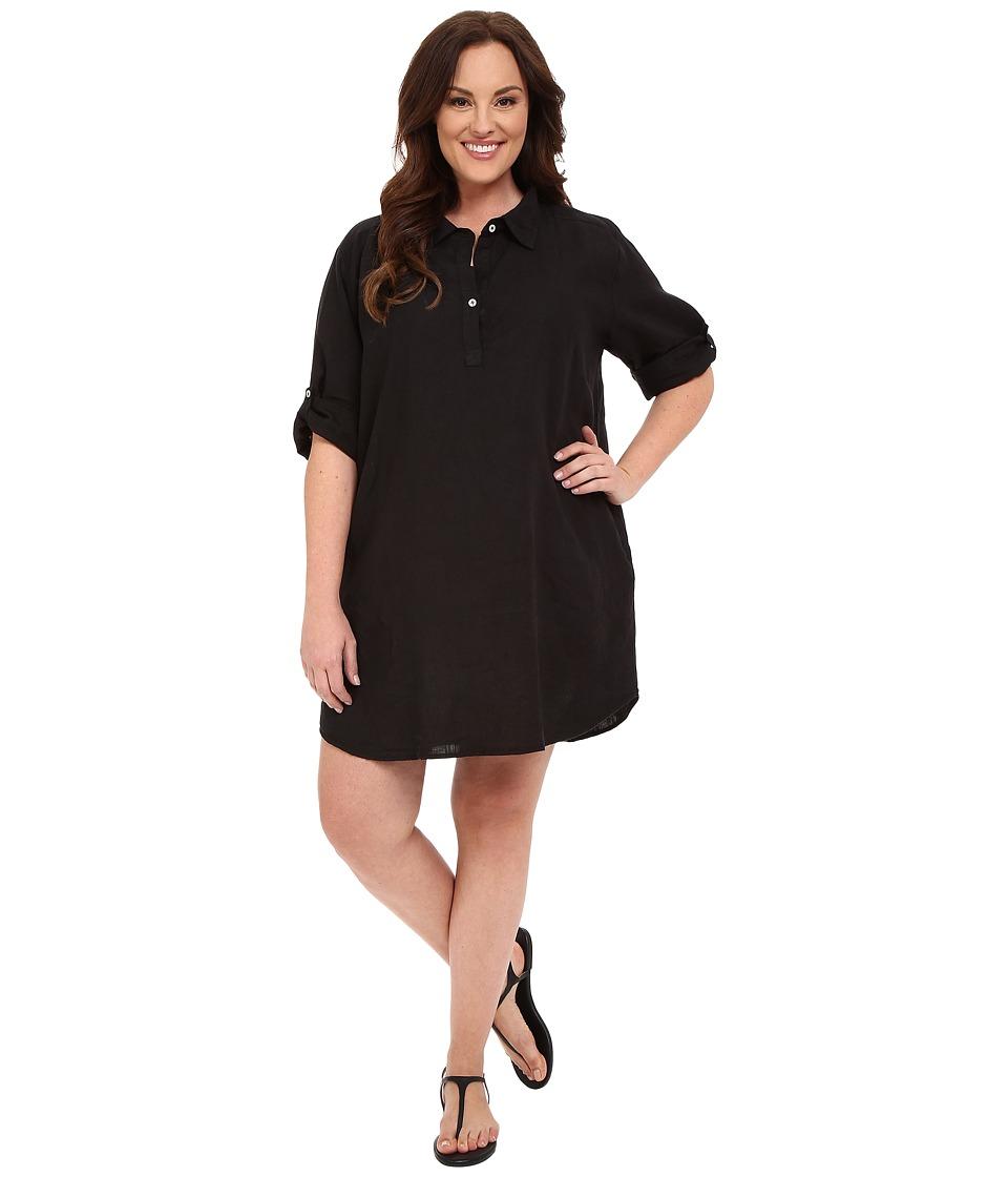 Allen Allen Plus Size Roll Sleeve Mock Placket Shirtdress Black Womens Dress