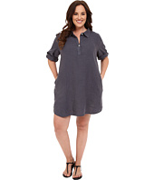 Allen Allen - Plus Size Roll Sleeve Mock Placket Shirtdress