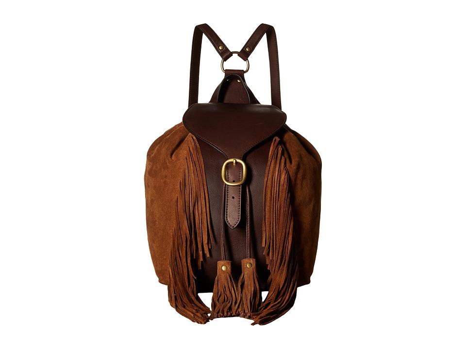 Frye - Clara Fringe Backpack (Dark Brown Soft Vintage Leather/Suede) Backpack Bags